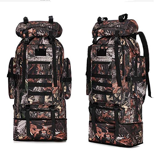 100L Foldable Large Capacity Hiking Outdoor Men's Rucksack Backpack Camping Climbing Rock Climbing Travel Bag Mountain Sports,E