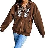 Chaqueta con capucha Y2K para mujer, de gran tamaño, con cremallera, con capucha, estilo vintage, con bolsillos, E-Girl 90s Streetwear