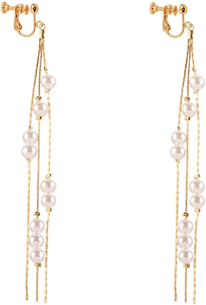 Created Pearl Extra Long Tassels Dangle Clip on Earrings Drops non Pierced Women Girl Fringe