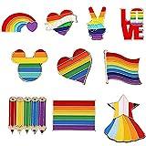 TBoxBo 10 alfileres gay Pride Rainbow Lapel Pin Rainbow Lapel Pins LGBTQ Gay Lesbiana Pins para suéteres, bufandas, vestidos, vestidos, bolsos, mochilas, graduación, boda, aniversario