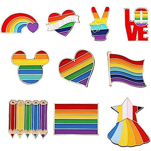 TBoxBo 10 alfileres gay Pride Rainbow Lapel Pin Rainbow Lapel Pins LGBTQ...