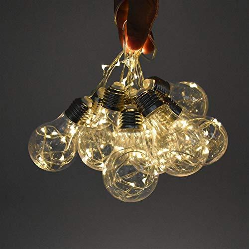 Newest 5M 10Bulbs impermeable al aire libre del bulbo solar ligera de la secuencia Garland cadena luces LED globo de la bola Cadena Patio Lámparas de Navidad Hada Str (Emitting Color : Warm white)