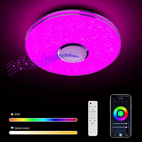Wayrank Lámpara de Techo Led con Altavoz Wifi, Plafon Led Techo RGB Controlada por APP y Control Remoto para Cocina Dormitorio 36W