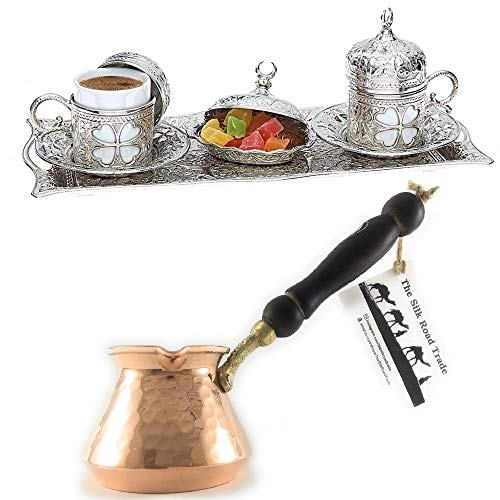 11 Pieces Espresso/Turkish Greek Arabic Coffee Full Set (Clover Design) for 2 Person Bundle with Unique Hammered Copper Coffee Pot, Cezve, Jazzve, Ibrik, Stovetop Coffee Maker
