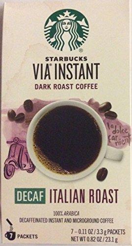 Starbucks Via Instant Dark Roast Coffee Decaf Italian Roast 7 Packets