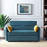 57-inch Compact Soft Velvet Sofa Bed with Pull-Out Sleeper, 2-in-1 Sofa (with 2 Lumbar Pillows) (Blue)