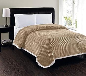 Elegant Comfort Best Softest Luxury Micro-Sherpa Blanket on Amazon! Heavy Weight Stripe Design Ultra Plush Blanket Full/Queen Beige