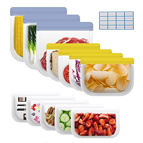 Reusable Food Storage Bags-12 Pack with 16 Labels(3 Gallon Bags+4 Sandwich Lunch Bags+5 Small Kids...
