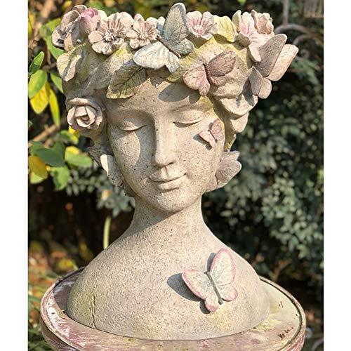 zenggp Blumentopf Schmetterling Fee Gesicht Garten Dekoration Garten Kopf Pflanzer Outdoor Indoor Harz Blume Blumentopf