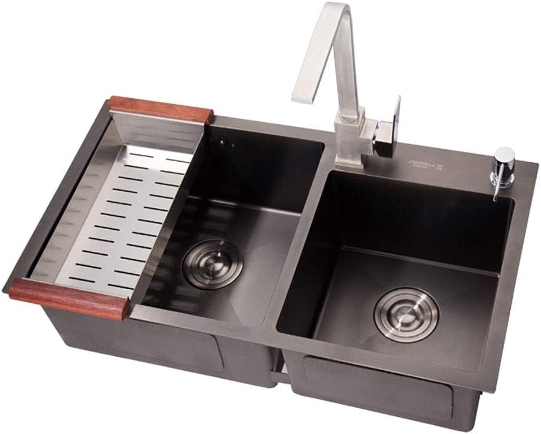 Waschschalen Spüle Nano Antibakteriell Verdicken 304 Edelstahlspüle Doppelschlitz-Paket Küche Spülbecken Waschbecken Aus Edelstahl Spüle (Farbe   braun, Größe   82  45  22 cm)