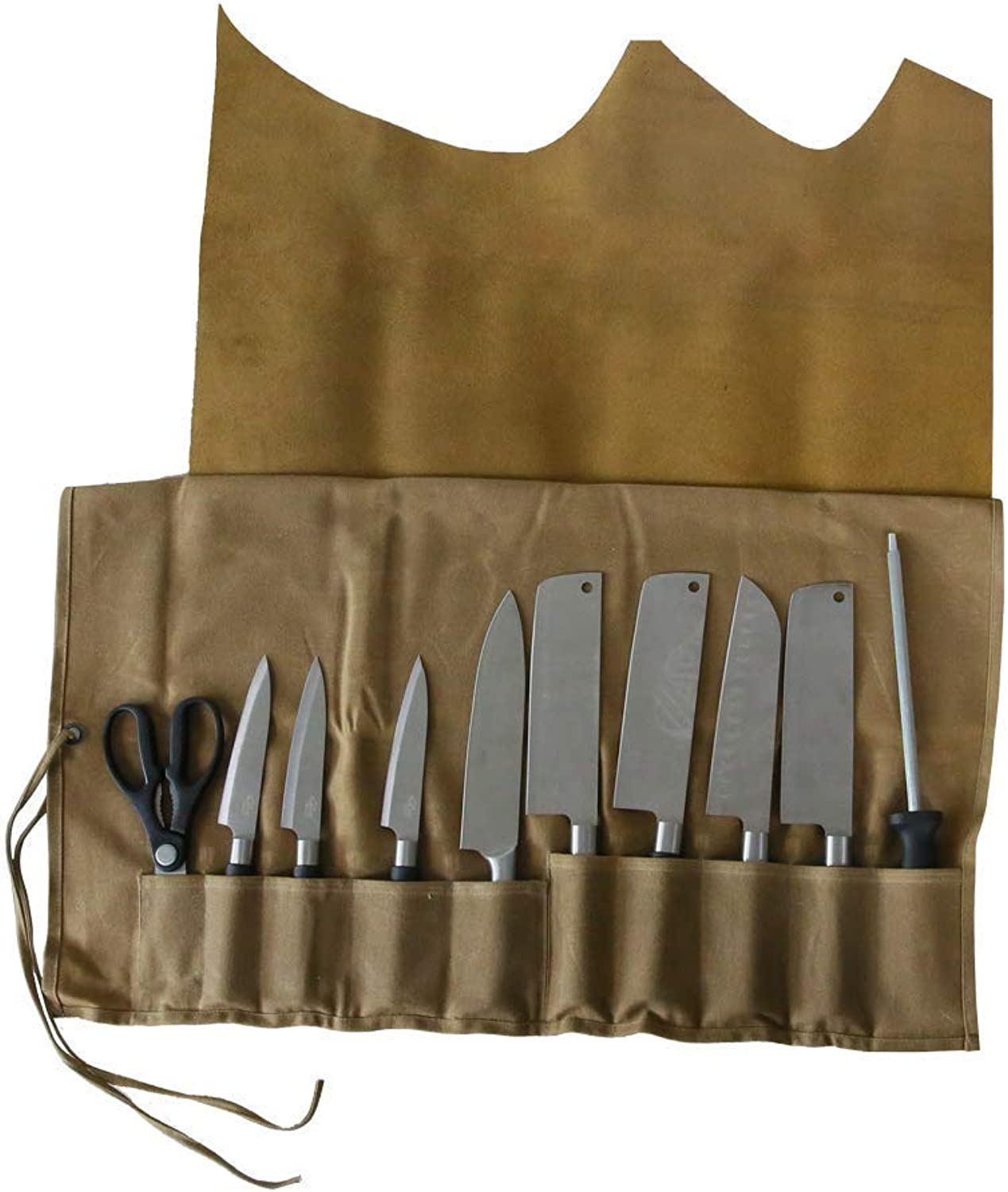 QEES Genuine Leather Knife Roll Knife Bag Utensil Holder, 10 Pockets Handmade Waxed Canvas All Purpose Chef's Tool Roll DD01