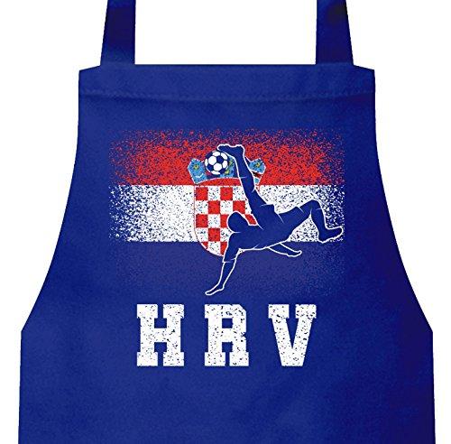 ShirtStreet Hrvatska Kroatien Fußball WM Fanfest Gruppen Frauen Herren Barbecue Baumwoll Grillschürze Kochschürze Croatia Football Player, Größe: onesize,Royal Blau