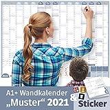 Wandkalender 2021 MUSTER, DIN A1+ (89x63 cm)   GEFALTET   228 Sticker für Anlässe & Termine   16 Monate: Nov'20-Feb'22   Familien, WGs, Paare   Jahresplaner, Ferien, Feiertage, Quartale
