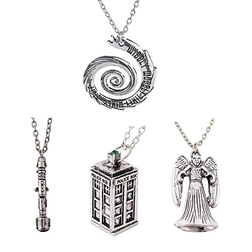 Luomi Doctor Who 4 Pack Different Necklace Wibbly Wobbly Timey Wimey 11th Doctor Sonic Screwdriver Pewter Finish Inspired 3D Police Box