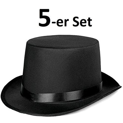 5er Set - Eleganter Zylinder Herren Damen - Klassischer Magierhut in Schwarz - Idealer Zauberer Magier Dandy Gigolo Stripper Hut für Party, Halloween, Fasching und Karneval (5x Zauberer Hut)