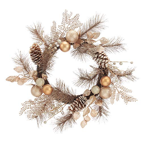 Kurt S. Adler 20-Inch Rose Gold Pinecones and Ornaments Wreaths, Multi