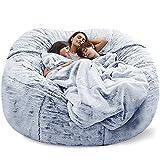 Puf gigante para sofá cama, sin relleno, suave, cálido, cómodo, mullido piel sentada (sin relleno) (color gris claro)