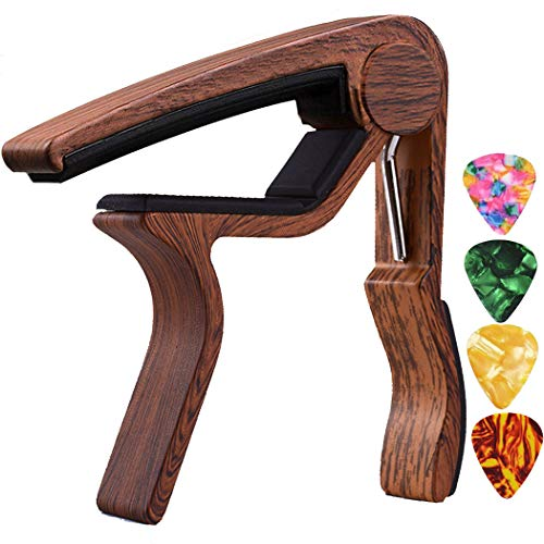 Guita Capo for Acoustic Electric Bass Guitars or Ukulele RoseWood Trigger Capo Guitar Clamp Guitar Clip
