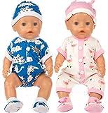 ebuddy Los conjuntos de mono de unicornio incluyen ropa de muñeca azul y rosa, 2 pares de zapatos y ...