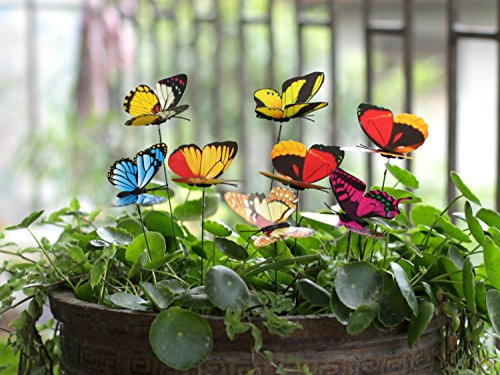 Ginsco 25pcs Butterfly Stakes Outdoor Yard Planter Flower Pot Bed Garden Decor Butterflies Christmas Tree Decorations