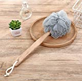 Dusenly Wooden Long Handle Bath Brush Back Scrubber Wood Bath Shower Body Brushes
