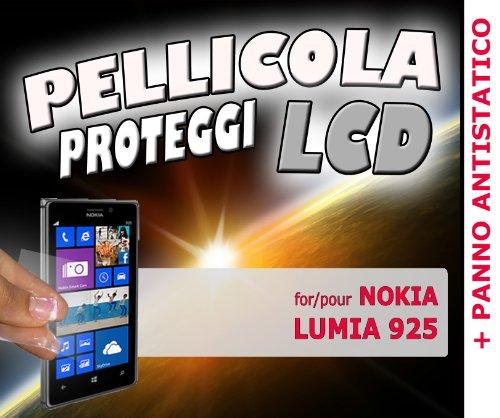 Pellicola protezione LCD DISPLAY per NOKIA LUMIA 925 più PANNO PER PULIZIA ANTISTATICO