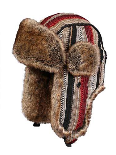 Insun Insun Unisex Fliegermütze Warme Trappermütze Bomber Hut Fellmütze Erwachsenen Winter Mütze für Herren und Damen Streifen Rot Khaki XXXL Hut Umfang 62cm