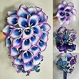 Purple Navy Blue Calla Lily Bridal Wedding Bouquet Accessories