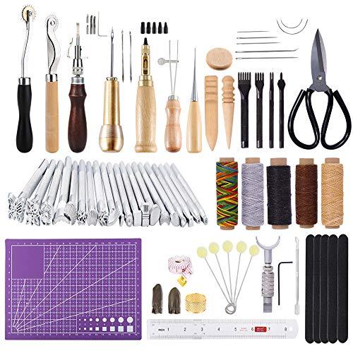 KA MAI KA Leder Werkzeuge Set, Lederhandwerk Werkzeuge, Leder DIY Set mit Leder Groover, Prong Punch, Schneidematte, Leder Stempel Werkzeuge für Leder Bearbeitung DIY
