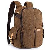 S-ZONE Camera Backpack Canvas Travel Case Bag 15.6 inch Laptop Tripod DSLR Lens