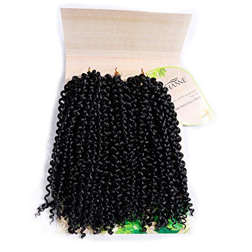 HANNE Afro Kinkys Curly Hair Braiding Curly Hair 3X Crochet Hair 12 Inches Braided Jerry Curl Synthetic Hair Extensions (Color 1B)