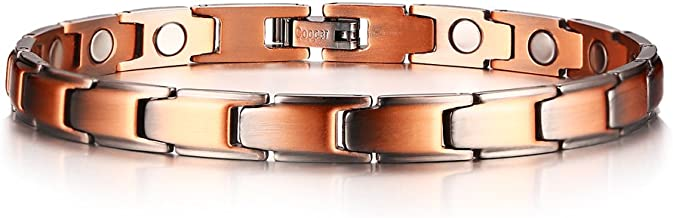 PJ Jewelry 7MM Women Copper Health Healing Magnetic Therapy Wristband Bracelet with Free Links Removal Tool