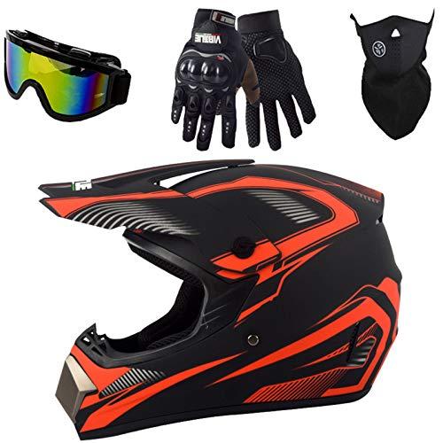 Motorradhelm, Motocross Helm Set (4-teiliges) Jugend Kinder Dirt Bike Helme, Motorrad Crosshelme Endurohelme für Mountainbike ATV BMX Fullface Helm mit Downhill Brille - Schwarz Rot - S/M/L/XL,XL
