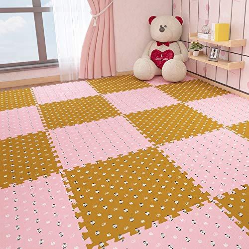 E.enjoy-Puzzle matten Soft Play-Matten for Kinder Pure Color Eva-Schaum-Matten Bodenbelag jiasaw Puzzle-Matten, Anzug Alter for 3 Jahre oder älter (Color : Pink+Brown, Size : 16 Piece)