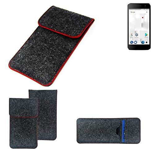 K-S-Trade Handy Schutz Hülle Für Thomson Friendly TH101 Schutzhülle Handyhülle Filztasche Pouch Tasche Hülle Sleeve Filzhülle Dunkelgrau Roter Rand