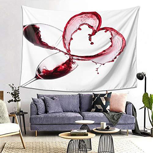 PATINISA Tapiz de Regalo,Corazón con derramar Vino Tinto en Vasos Amor romántico Día de San Valentín,Tapiz Bohemio diseño para Colgar en la Pared,Sala de Estar Dormitorio 80x60in