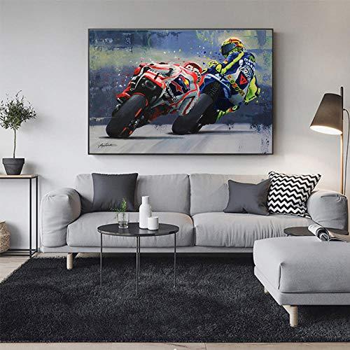 BZCBX Impresión de Lienzo 50x70cm Carrera de Motos Resumen Cuadros en Lienzo Mural Fotos para Salon Dormitorio Baño Comedor (Bastidor de Madera)