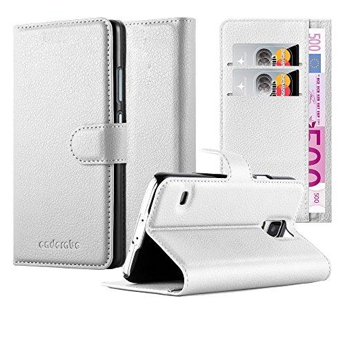 Cadorabo Hülle für Samsung Galaxy S5 / S5 NEO - Hülle in ARKTIS WEIß – Handyhülle mit Kartenfach und Standfunktion - Case Cover Schutzhülle Etui Tasche Book Klapp Style