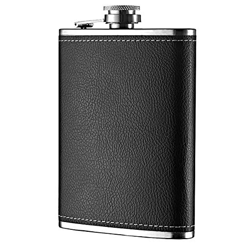 Hip flask - 7 Oz Leak Proof Stainless Steel Pocket Hip Flask with Black Leather Cover for Discrete Shot Drinking of Alcohol, Whiskey, Rum and Vodka   Gift for Men
