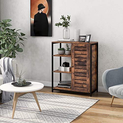 Buffet avec 3 offenen Ablagen, Seitenschrank, Küchenschrank, Lagerschrank, Industriedesign, Stahlrahmen, Vintage Braun + Schwarz, 70 x 30 x 80 cm