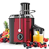 Juicer Machines Juice Extractor - MAMA'S CHOICE Centrifugal Juicer with 3 Speed Large Feed Chute for Whole Fruit Vegetable 800W Quick Extract Dishwasher Safe Non-Slip Feet Included Brush Recipes (Red)