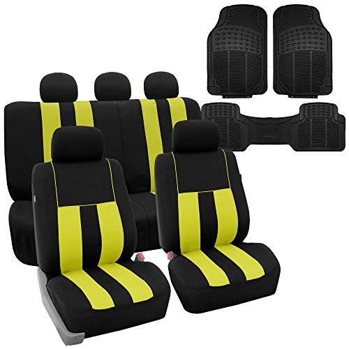 FH Group FB036115 + F11306 Striking Striped Seat Covers (Yellow) Full Set – Universal Fit for Cars Trucks & SUVs