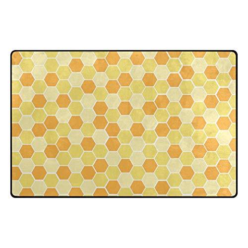 MALPLENA Gelbes Mosaikmuster Teppich Einstieg Fußmatte Fußmattenbereich Teppich Fußmatten Gelbes Mosaikmuster Schuhe Schaber für Wohnzimmer/Esszimmer/Schlafzimmer/Küche rutschfest
