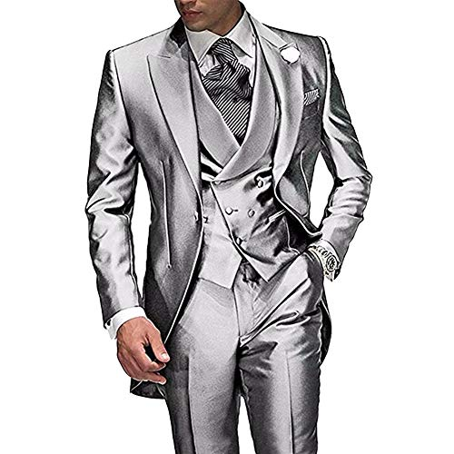 RONGKIM Gentleman 3 Pc Wedding Tailcoat Suits Foraml Business Suit Silver L