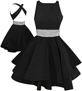 Womens Open Back Fit and Flare Short Prom Dresses with Beaded Waist Juniors Homecoming Party Dress