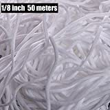 50 Meters Elastic Strap White Earloop Cord Stretchy Ear Tie Rope Handmade String for Sewing,1/8-Inch (3mm)