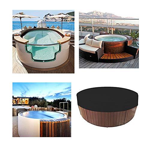 HEWYHAT Cubierta Redonda para bañera de hidromasaje al Aire Libre, Resistente al Agua 100% Resistente a los Rayos UV Reemplazo de la Cubierta para SPA con Protector Solar elástico,Negro,200×30cm