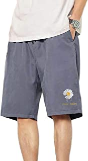 Macondoo Men Trousers Beach Printed Summer Elastic Waist Plus Size Casual Shorts