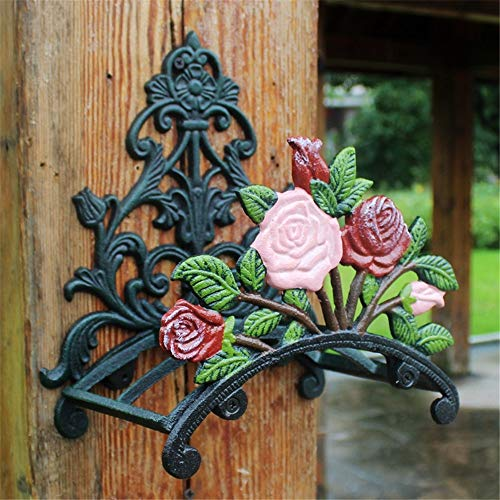Garden Hose Holder Rustic Peony Flower Wall Mounted Hose Butler Heavy Duty Metal Water Pipe Holds Rack Wall Hose Hanger Reel For Garden Yard Hose Holder ( Color : Cast iron , Size : One size )