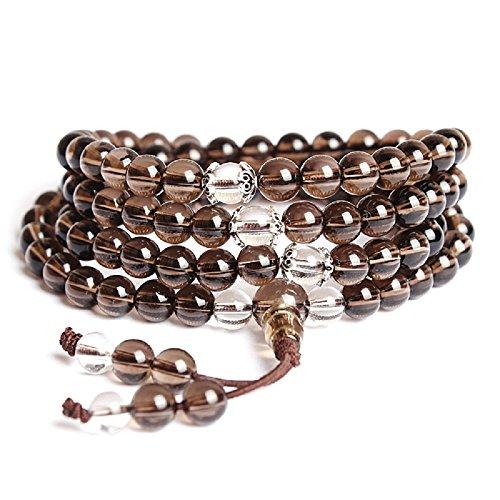 coai® 108 6mm Rauchquarz und Quarz Wickelarmband von Einfachem Stil mit Fransen Halskette für Damen/Herren